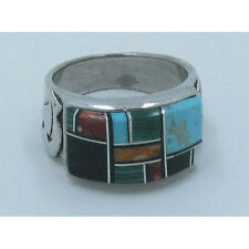 MENs .925 Sterling Silver  Multi-gemstone Turquoise Running Bear Ring Size 8 1/2