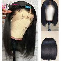 "12"" Straight Short Human Hair Wigs 130% 13X4 Straight Bob Lace Front Wigs UNice"