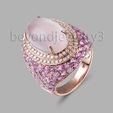 6.46ct Rose Quartz Diamond Engagement Wedding Gemstone  14K Rose Gold Ring