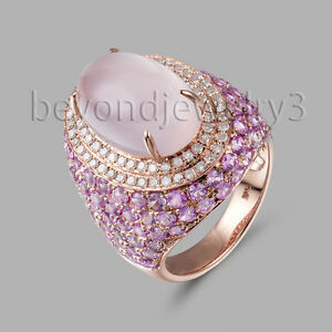 6.46ct Rose Quartz Diamond Engagement Wedding Gemstone  14K Rose Gold Ring