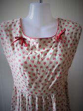 Robe d'été Vintage années 60 en coton joli tissu à feuille Rose Rouge T.XS-S