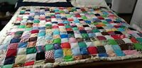 VINTAGE HAND/MACHINE SEWN PATCHWORK PUFFY TIED QUILT 69 X 78 REVERSIBLE