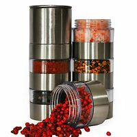Stainless Steel Salt and Pepper Mill Set 6pcs Glass Body Jar Spice Shakers New