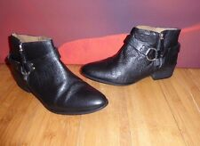 *56*  SUPERB ZARA BLACK  LEATHER ANKLE HARNESS BOOTS EU 38