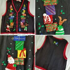 Vintage 1980s Women's Ugly Christmas Sweater vest cardigan Size 4X.