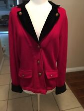 LRL LAUREN RALPH LAUREN Jacket RED VELVET COLLAR GOLD BUTTONS Size L