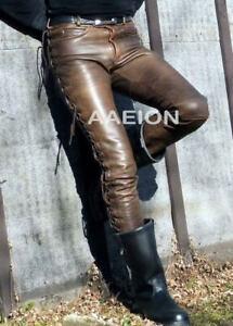 Men's Real Leather Bikers Laces Up Pants Vintage/Distressed Look Pants+FREE BELT