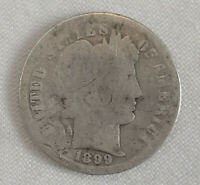 1899 US BARBER Liberty 90% Silver DIME Coin Ten Cents Circulated US Currency