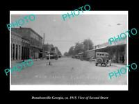 OLD POSTCARD SIZE PHOTO OF DONALSONVILLE GEORGIA VIEW OF THE MAIN STREET c1915