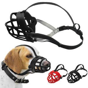No Bite Dog Muzzle Soft Rubber Adjustable Mouth Cage Basket Reflective Doberman