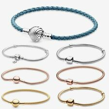 Pandora Silver Chain Bracelet moments Charm Snake leather Sterling Silver Chain