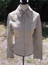 Veste beige nude 100% cuir croûte de porc femme MORGAN taille 36