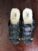UGG Women Black Leather& Sheepskin  Slip On Mule Clogs Shoes Size 7