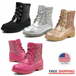 Girls Toddlers Kids Glitter Combat Boots Side Zipper Fashion Cute Ankle Boots