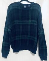 VTG Gap Cotton Sweater Plaid 90s Chunky Knit Crewneck Pullover Mens Size M