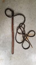 Vintage Braided Leather Whip Training Bull Cattle Horse Cow Riding Fly Swatter