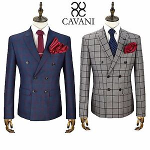 Mens Cavani Double Breasted 2 Piece Suit Blazer Trousers Formal Large Check