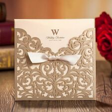 WISHMADE 50 Count Square Laser Cut Invitations Cards Kits Gold for Wedding Bi...