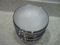 4 Franciscan Platinum Silver Band Ivory Bowls 4 3/4 Fruit Dessert Sauce Gladding