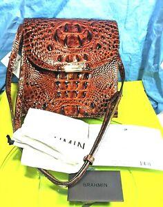 Brahmin Kimmie Pecan  Melbourne  Croc Embossed Leather NWT  Crossbody 245 Retail