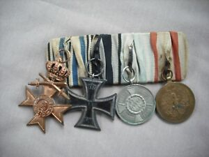 WWI German medal bar Iron Cross Bavarian Cross, IX yr Tryol Defense Medal parade