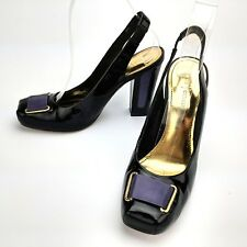 Vince Camuto Delano Slingback Pumps Leather Black Purple Ribbon Size 7.5 B