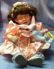 Marie Osmond Tiny Tots Porcelain Doll Girl Sleeping w Bunny Brown Hair196/20k 99