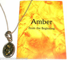 STERLING SILVER GREEN AMBER NECKLACE (New/Boxed)
