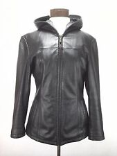 Wilsons Womens Hooded Jacket Winter Thinsulate Ultra Black Genuine Leather Small