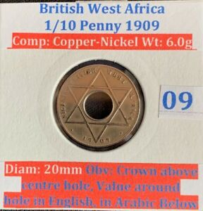 British West Africa 1/10 penny 1909 (VF condition)