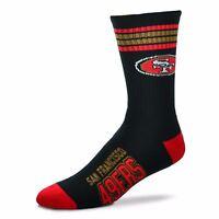 San Francisco 49ers For Bare Feet NFL 4-Stripe Deuce Crew Socks SZ M