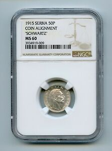 SERBIA 1915 50 Para - Petar I KM# 24 NGC MS 60 -GAJ