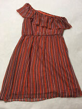 Bisou Bisou Michele Bohbot 12 Orange Purple Stripe One Shoulder Ruffle Dress