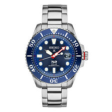 Seiko Mens SNE435 Padi Solar Stainless Steel Blue Dial 45mm Case Date Watch
