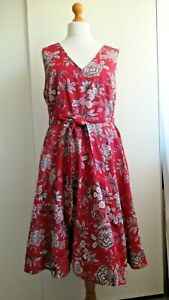 Monsoon Red Floral Cotton Summer Dress, Size 20