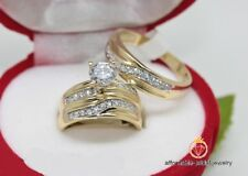 Yellow Gold Over Round Diamond Trio Wedding Band Engagement Ring Sets 2.50 CT