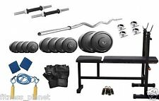 Home Gym Set 20 Kg Weight 3 In 1 Bench+3 Feet Curl Rod+5 Feet RodBy Gofit