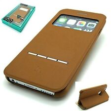 Buckskin Leather Estuche tipo Billetera Libro de la serie inteligente HOCO Apple iPhone 6 6S-Marrón