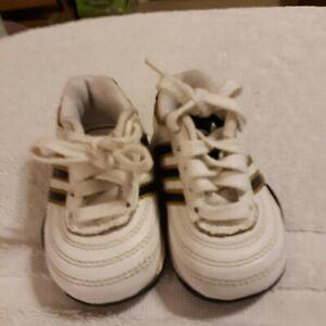 Baby Boy White w/Black Stripe Leather Tennis Shoes Adidas Size 3X