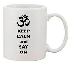 Keep Calm And Say Om Aum Yoga Ceramic Dishwasher Safe White Coffee Mug