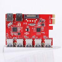 7 Port 5Gbps USB3.0 HUB To PCI E Express Card Adapter Converter Win 8 7 XP Vista