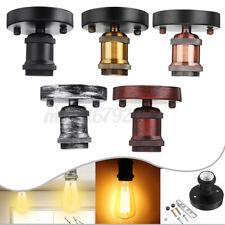 E27/E26 Industrial Vintage Ceiling Rose Pendant Light Bulb Fitting Socket  R
