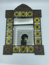 Vintage Distressed Mexican Talavera Tile Punched Tin Framed Wall Mirror Rustic