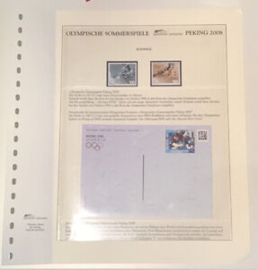 Switzerland 2008 Bejing Olympics Page With Two Stamps And Postcard