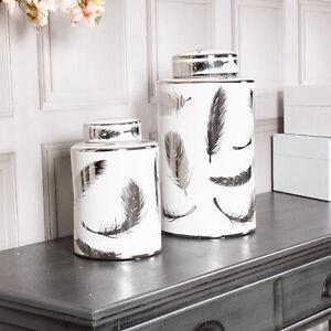 Medium Leaf Ginger Jar White Silver Storage Decor Display Lattice Home Decor