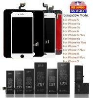 OEM LCD Screen & Battery Replacement for iPhone 5 5C 5S SE 6 6S 7 8 Plus X LOT
