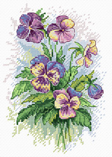 MP Studia Counted Cross Stitch Kit - Pansies