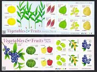 JAPAN 2016 VEGETABLES & FRUITS SERIES NO. 6 52 & 82 YEN SOUVENIR SHEETS MINT