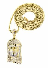 10K Yellow Gold Franco Chain & Cz Jesus Piece Chain | Appx. 21.5 Grams