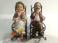 Man & Woman Sitting In Metal Rocking Chairs Home Decor Figure Statue hd238